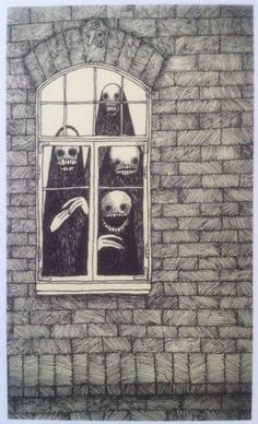 "drawings by John Kenn Mortensen from his book ""Sticky Monsters"""