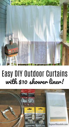 The EASIEST and cheapest way to hang DIY outdoor curtains, DIY porch curtains. They also repel snow Outdoor Curtains For Patio, Outdoor Decor, Outdoor Living, Outdoor Crafts, Outdoor Ideas, Outdoor Pergola, Diy Pergola, Pergola Ideas, Diy Porch