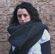 Large Charcoal Chunky Knit Scarf...The Double-Double. $100.00, via Etsy.