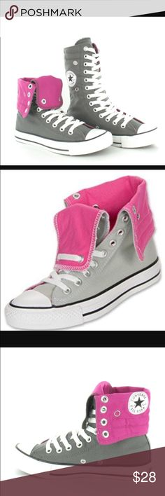Converse AllStar Fliptops EUC Grey and hot pink Converse Allstars worn 2 times. They are too big for me. Very nice shoe. Definitely would buy again! I had many compliments on them! Can be worn 2 ways! Converse Shoes Sneakers