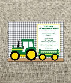 Green Tractor John Deere Kids Birthday by KellerCreative on Etsy