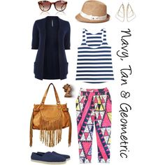 """""""Navy, Tan & Geometric"""" by thestreetsiknow on Polyvore"""