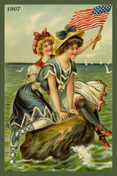 Bathing Beauties Postcard 1907. Quilt Block printed on cotton. Ready to sew.  Single 4x6 block $4.95. Set of 4 blocks with free wall hanging pattern $17.95