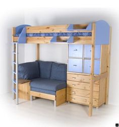 Loft Bed with Dresser & Seating Area.how awesome would this b for a kid? Loft Bed with Dresser & S Bunk Bed With Desk, Bunk Beds With Stairs, Kids Bunk Beds, Cool Loft Beds, Murphy-bett Ikea, Bedroom Furniture, Bedroom Decor, Ikea Furniture, Kitchen Furniture