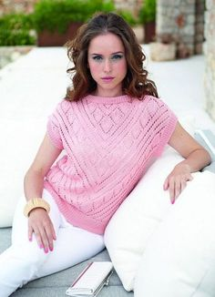 Розовый пуловер спицами
