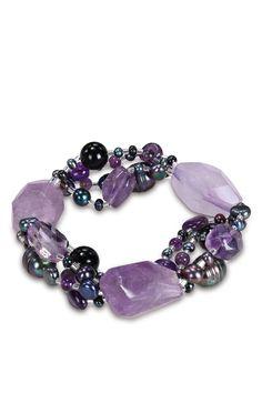 Julie Leah  Black Freshwater Pearl, Black Agate, & Amethyst Beaded Stretch Bracelet