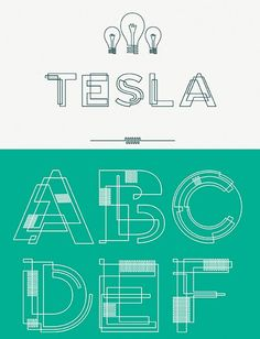 Tesla font inspired by the circuitry of lightbulb filaments and wiring