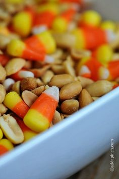 Candy corn snack mix - 2 cups salted cocktail peanuts to 1 cup candy corn - tastes like a Payday candy bar!