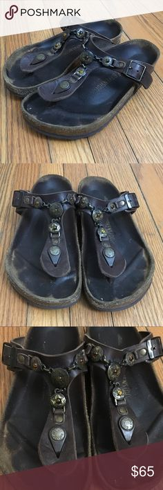 Birkenstock Tatami Sandals Rare Well Loved TATAMI by BIRKENSTOCK GIZEH CORTINA Genuine Brown Leather Sandals Flip Flops with jeweled chain detail. Women's Size EU37 US7 Birkenstock Shoes Sandals