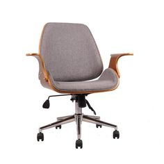 Aspect Walnut Effect Chelsea Office Chair with Seat and Chrome Base, Grey, 77 x 64 x 85 cm Desk Chair Comfy, Modern Desk Chair, Swivel Office Chair, Mesh Office Chair, Ergonomic Office Chair, Balcony Table And Chairs, Shabby Chic Table And Chairs, Desk Chairs, Blue Chairs