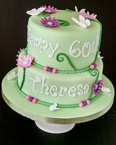 60th Birthday Cake For Ladies Square Green Cakes