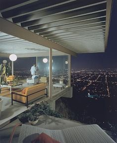 Julius Shulman - among those who love mid-century modern style and architecture man of Shulman's images are iconic. This is especially true of his Case Study House #22 photograph - this is the lesser know, color plate of that shot. Shulman understood light, and the buildings that were his subjects and the precise time of day required to clearly show the architect's intention.