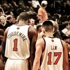 Amare Stoudemire & Jeremy Lin - Feb 4, 2012 - Knicks vs. Nets @ Madison Square Garden (c) Lauren Turis
