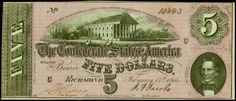 Confederate Money $5 Bill from Richmond, Virginia, February 17th 1864 T-69 Civil War Note  Type 69 Confederate money which is the five dollar denomination of the common 7th series of currency of the Confederate States of America that was issued during the latter part of the Civil War in 1864. The state capitol building of Virginia located in Richmond is the center vignette, while on the right is a small portrait of C. G. Memminger, who served as secretary of the treasury during most of the…