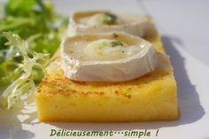 polenta au chèvre gratiné Polenta, C'est Bon, Camembert Cheese, Eggs, Dishes, Breakfast, Simple, Food, Ski