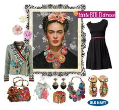 """""""The Little Bold Dress"""" by iggy-rouvinen ❤ liked on Polyvore featuring Old Navy, H&M, Camper, FRIDA, Karma Living, Alexis Bittar, Mary Frances Accessories, crochet, statement necklaces and frida kahlo"""
