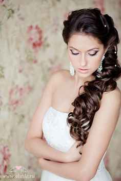 Wedding hairstyles with elements of weaving for long hair