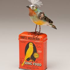 The Fat Finch Boutique for Bird Lovers | Bird on a Canary Seed Can Mixed Media Sculpture by Mullanium