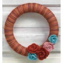Wrapped Wreath with Crocheted Flowers- Free Patterns Weekly- WillowYarns.com