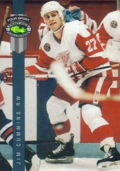 Acquired by Detroit Red Wings with Kevin Miller & Dennis Vial, for Joey Kocur and Per Djoos. Teams approaching Detroit about a possible trade always want to talk about Cummins. Scouts have been continually impressed by his toughness and desire. Even with strong man Bob Probert a fixture in Detroit there is expected to be room for Cummins in near future. -  Classic Draft Picks - #94 - Jim Cummins1992 Bob Probert, Hockey Cards, Baseball Cards, Jim King, Nhl Entry Draft, Phoenix Coyotes, Ice Hockey Players, New York Islanders, Tampa Bay Lightning
