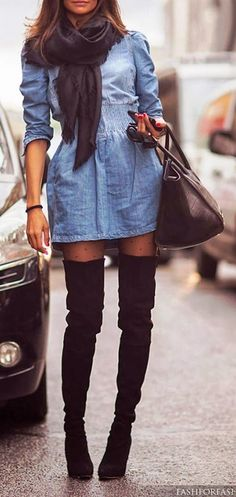 denim dress, over-the-knee boots, printed tights, black bag, scarf -could wear the denim dress I have now and switch the scarf for a cardigan