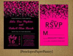 hot pink and black reception | wedding | Pinterest | Hot pink ...