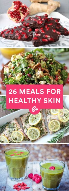 Achieving blemish-free, glowing skin may seem like a daunting task, but the solution may be no further than your kitchen. These 26 meals are packed with scientifically-backed, healthy-skin-promoting ingredients.  #health #skincare #wellness http://greatist.com/health/meals-for-healthy-skin