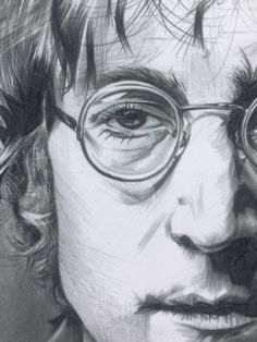 John Lennon Pencil Drawing Art Print The Beatles Drawing | Etsy