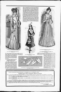 Gown with Art Nouveau influenced applications, with real size example of the decoration. (visit site for bigger picture)  Gracieuse. Geïllustreerde Aglaja, 1901, aflevering 6, pagina 48/2