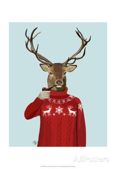 Deer in Ski Sweater Posters by Fab Funky at AllPosters.com