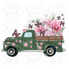 Flower Truck, Flower Cart, Planners, Create Collage, Truck Art, Truck Design, Arte Floral, Vintage Roses, Retro Vintage