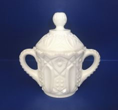 Kemple Milk Glass | Vintage Kemple Milk Glass Sugar Bowl with Handles and Lid, Toltec ...