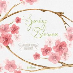 Sakura Clipart Flowers Digital. Hand drawn clip art by ReachDreams
