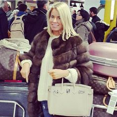 @carolinestanbury spotted travelling light (?!) wearing @lillyevioletta silvery sable with @vionnet_paris cashmere #lillyevioletta #sable #luxury