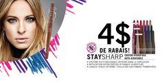 ÉPARGNEZ 4$ sur tous les produits Stay Sharp! Offre valide en magasin & en ligne sur Annabelle.com. Cliquez sur l'image pour profiter de l'offre/imprimer votre coupon! #vente #couponing #eyeliner #sale #promotion Promotion, Coupon, Face, Products, Coupons