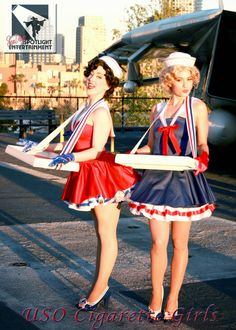 Classic Cigarette Girls by San Diego Spotlight Entertainment Our Vintage Cigarette Girls made quite an impact on this USO themed even. Vintage Circus, Burlesque Vintage, Vintage Sailor, Vintage Theme, Halloween Costumes For Girls, Girl Costumes, Girl Halloween, Cigarette Girl Costume, Rat Pack Party