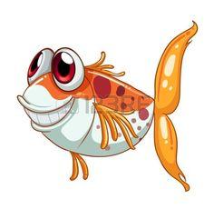 Illustratie van een oranje vis met grote ogen op een witte achtergrond photo