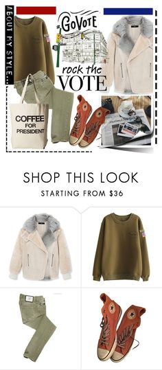 """""""Rock the vote"""" by cool-cute ❤ liked on Polyvore featuring TIBI, Just Cavalli, Converse and Dogeared"""