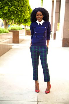 Military Style Sweater + Button Up Shirt + Plaid Pants
