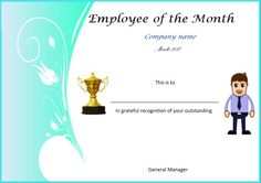15 best employee of the month certificates images on pinterest