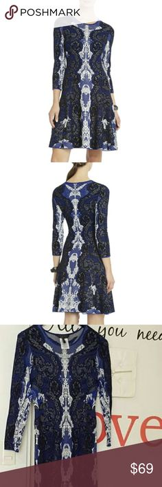 BcbgMaxAzria Jacquard A-Line Dress S Silk/Rayon. Worn once. BCBGMaxAzria Dresses