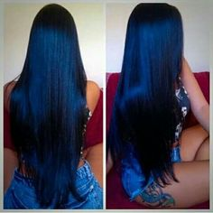Vintage Blue Black Waves ❤ Want to pull off blue black hair? Dark blue balayage for long hair, jet black hair color with midnight blue highlights for medium length, ideas for short hair, and useful tips are here! Hair Color For Black Hair, Cool Hair Color, Purple Hair, Ombre Hair, Navy Blue Hair, Hair Colors, Midnight Blue Hair, Curly Hair Styles, Natural Hair Styles