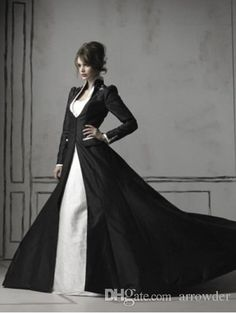 Mother Bride Wholesale 2015 Winter Black And White Wedding Dresses With Long Sleeves Satin Fall Gothic High Neck Chapel Train Bridal Dresses Ball Gowns Groom Mother Dress For Wedding From Huensha1, $223.94| Dhgate.Com