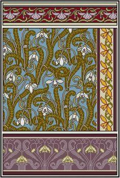 Hübsche Schneeglöckchen panel Cross Stich oder Gobelinstickerei. ... 4 wiederholten Abschnitten .. .easy Ihre eigene Farbpalette wählen ... ...eine