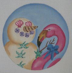 Handpainted Needlepoint Canvas Nenah Stone Tropical Sand Snowman Flamingo CH135 #NenahStone
