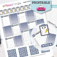 Etsy Shop Stickers,  Kawaii Printable Planner Stickers,  Pink Etsy Orders Tracking, Processing Etsy Orders, Erin Condren, K030
