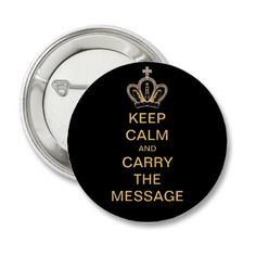 Keep calm and carry the message. Pretty digital gold crown sobriety / recovery button $2.80  Bulk discounts  #alcoholism #xa #sobriety #sober #recovery