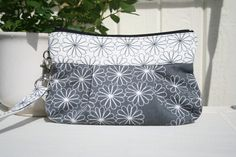 Blommig in grey and white  Handmade Purse  by Themidnightsundesign, $18.00