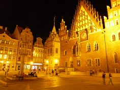 Wroclaw's square illuminated by street lamps
