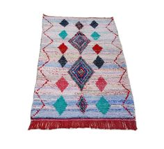 """85""""X47"""" Moroccan rug handwoven from scraps of fabric / boucherouite / boucherouette / kilim rug / beni ourain / moroccan wedding blanket by MoroccanTribal on Etsy https://www.etsy.com/listing/488562943/85x47-moroccan-rug-handwoven-from-scraps"""